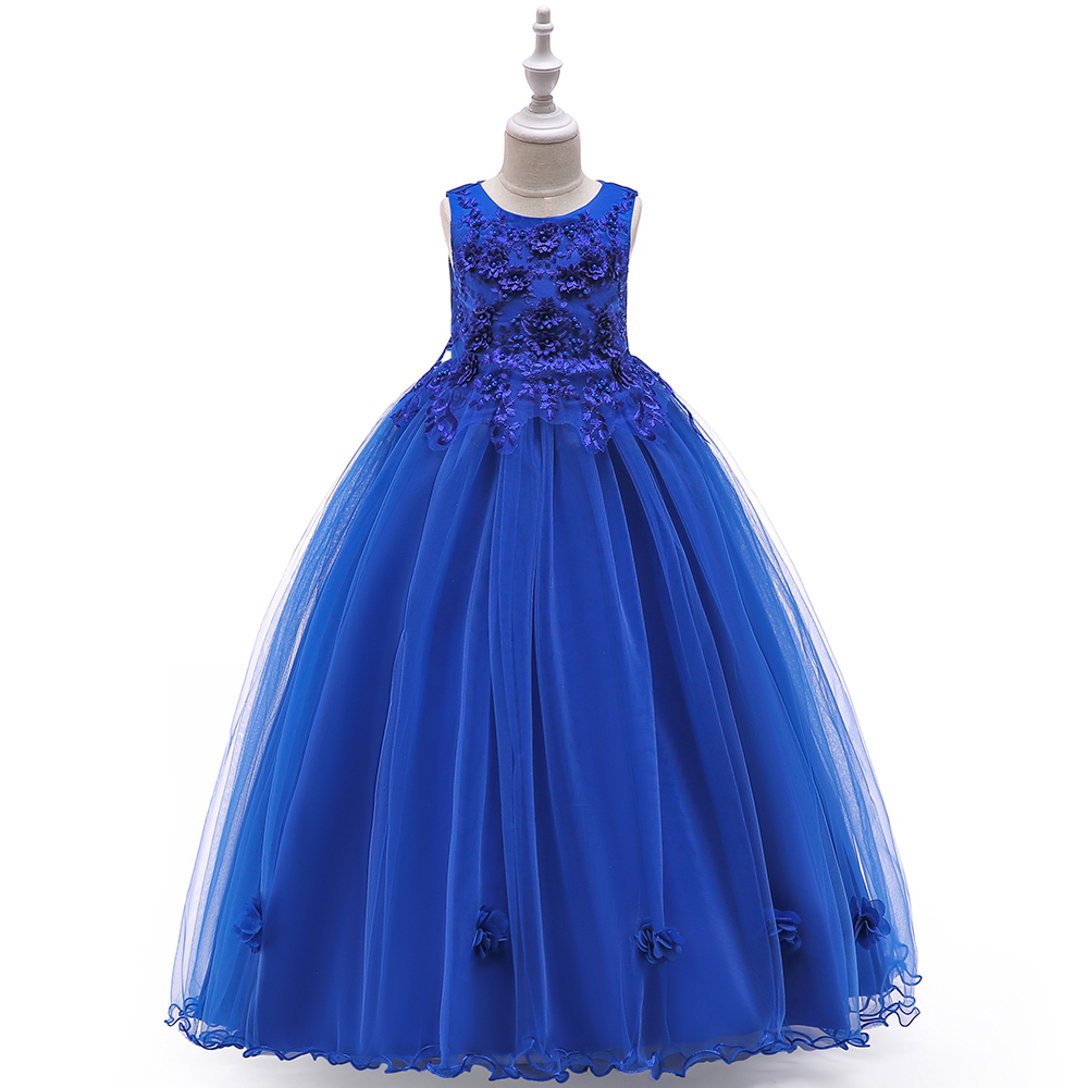a4398cb678b Long Prom Kids Party Wear Baby Flower Floor-length Dress Children Clothing  INF14