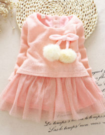 5b94119419451 Autumn Winter Baby Girl Clothes Cute long sleeve Warm girl dress Bow Kids  Toddler Tutu Party dresses INF207